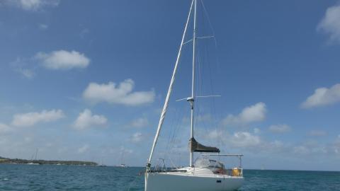 Structures Pogo 10.50 : Au mouillage en Martinique