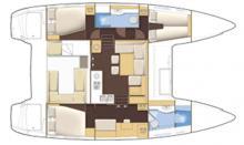 Lagoon 400 3 cabines : Plan d'aménagement