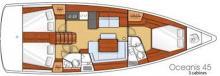Oceanis 45 : Plan d'aménagement