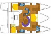 Plan aménagement - Alliaura Marine Privilege 495, Occasion (2006) - Caraïbes (Ref 300)
