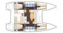 Plan d'aménagement - Lagoon Lagoon 400 4 cabines, Occasion (2010) - Caraïbes (Ref 494)