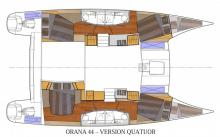 Fountaine Pajot Orana 44 : plan d'aménagement de la version 4 cabines